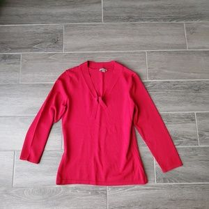 Ann Taylor Red 3/4 Sleeve V-Neck Top- Size XS